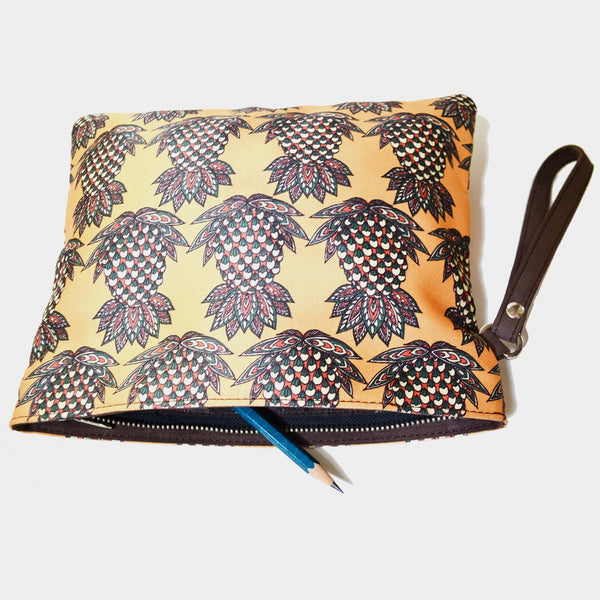 Yellow Poly Suede Pineapple Pouch