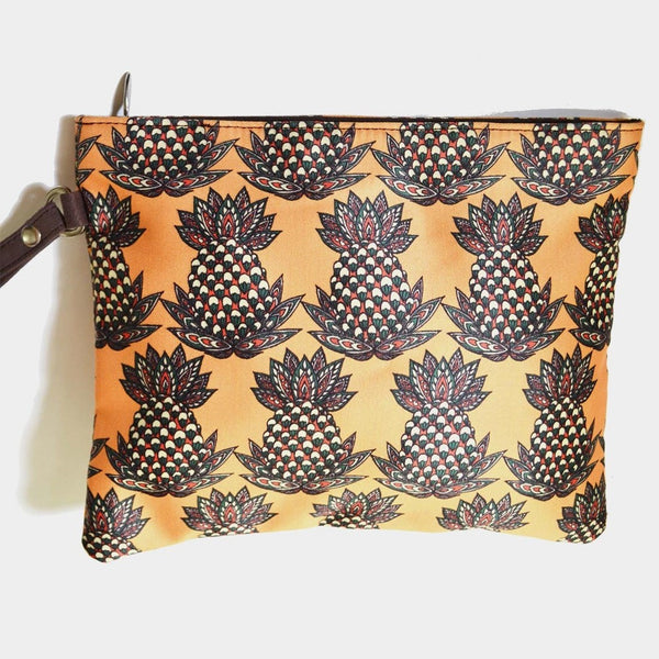 Yellow Poly Suede Pineapple Pouch by Noorani Biswas