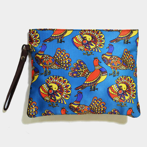 Blue Poly Suede Pigeon Pouch by Noorani Biswas