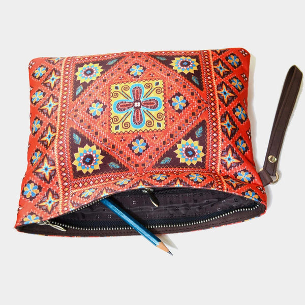 Red Poly Suede Kutch Pouch