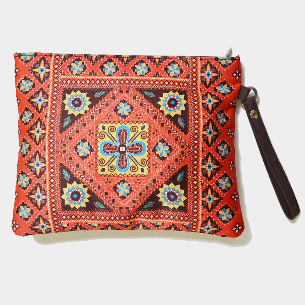 Red Poly Suede Kutch Pouch by Noorani Biswas