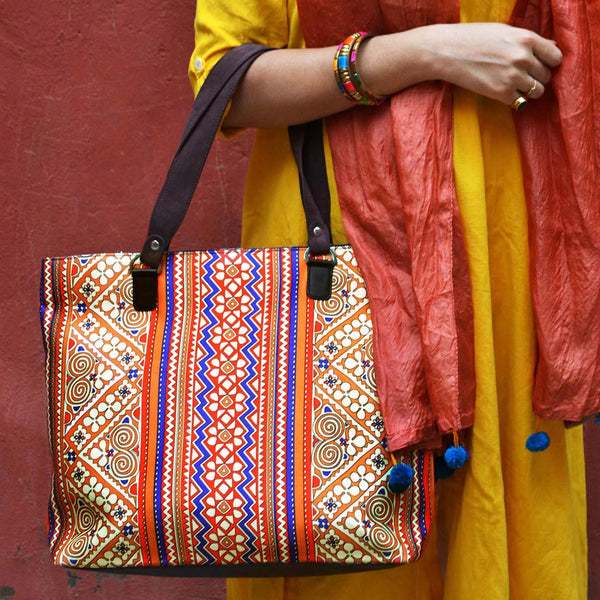 Multicolour Border Poly Suede Hand Bag