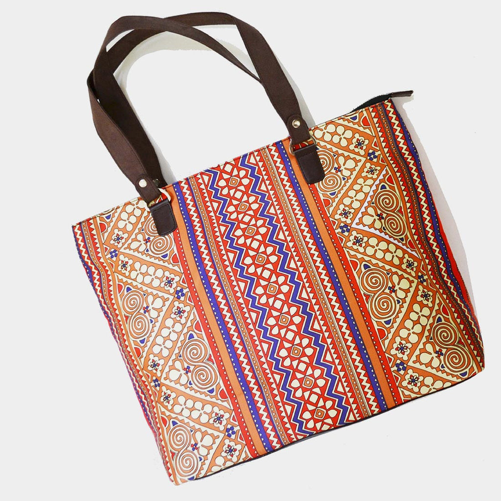 Multicolour Border Poly Suede Hand Bag by Noorani Biswas