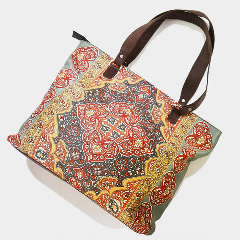 Multicolour Classic Rug Poly Suede Hand Bag by Noorani Biswas