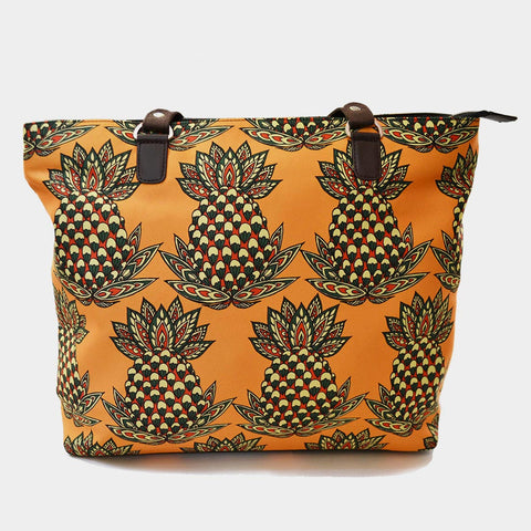 Yellow Pineapple Poly Suede Hand Bag by Noorani Biswas