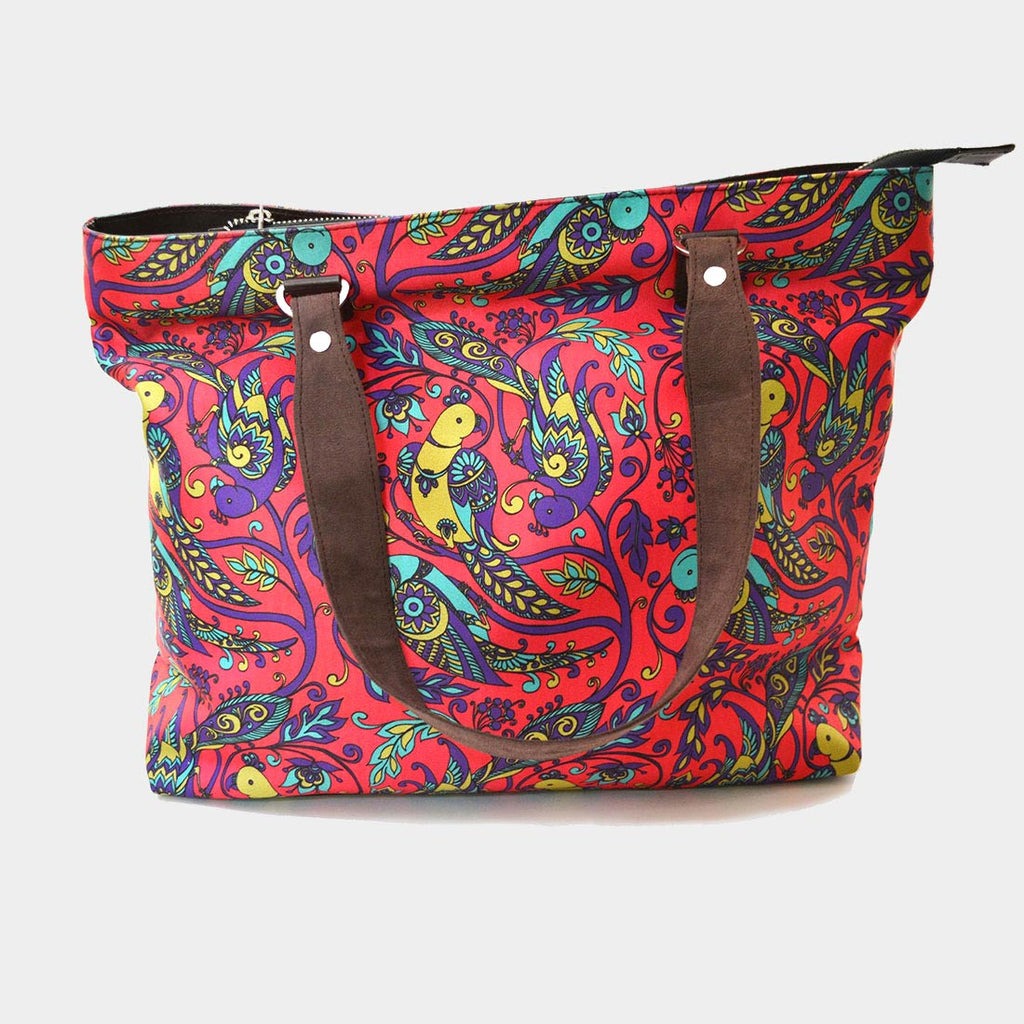 Pink Parrot Poly Suede Hand Bag by Noorani Biswas