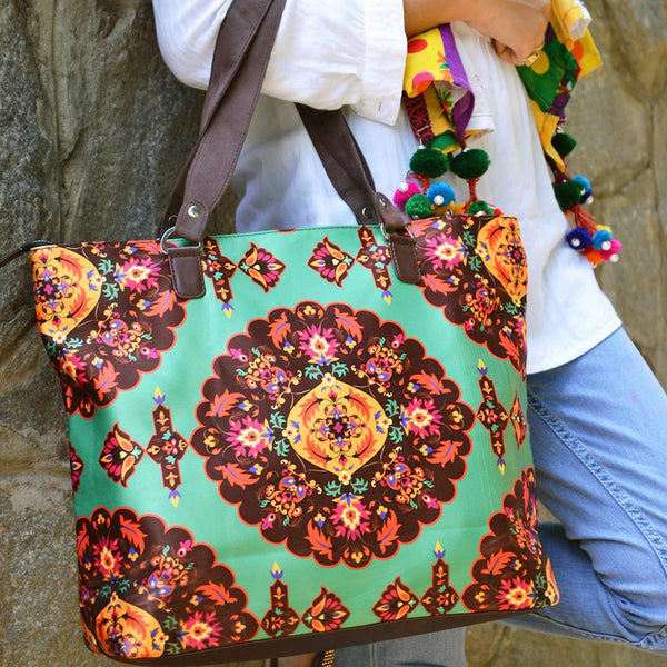 Multicolour Floral Poly Suede Hand Bag