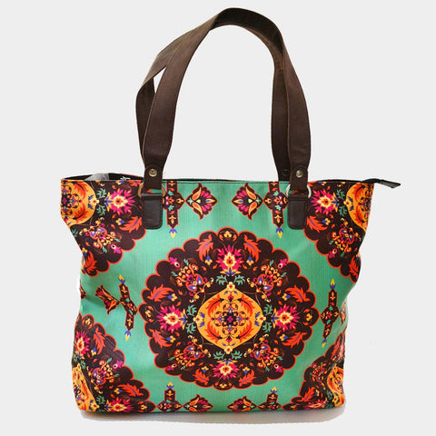 Multicolour Floral Poly Suede Hand Bag by Noorani Biswas