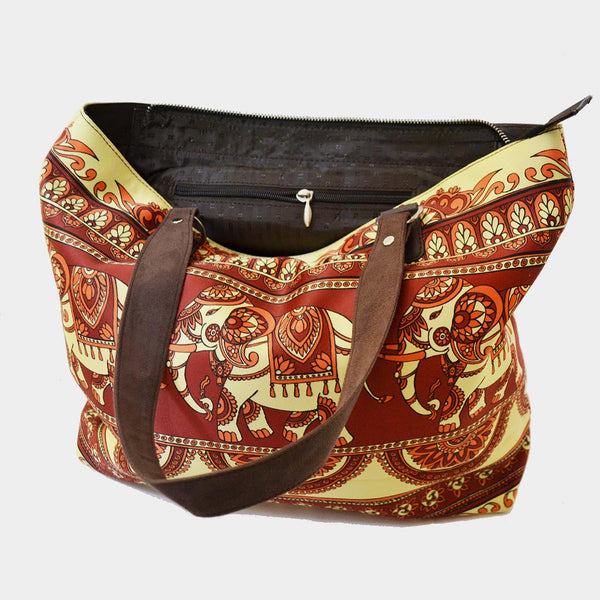 Red & Cream Elephant Poly Suede Hand Bag