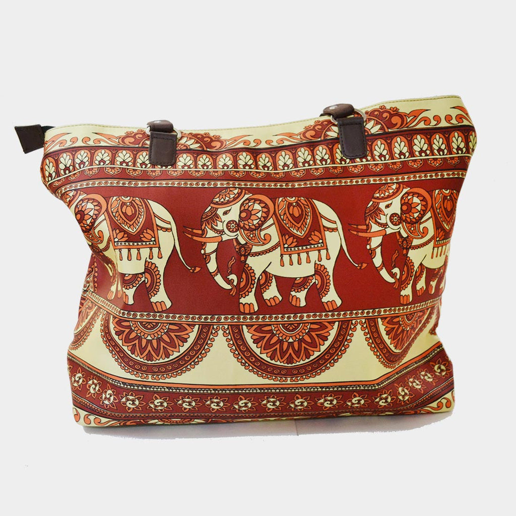 Red & Cream Elephant Poly Suede Hand Bag by Noorani Biswas