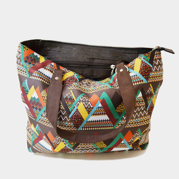 Multicolour Mountain Poly Suede Hand Bag