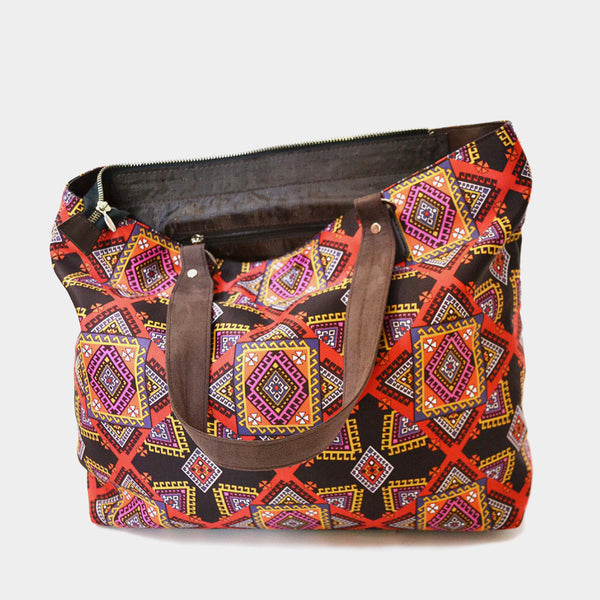 Multicolour Graphic Poly Suede Hand Bag