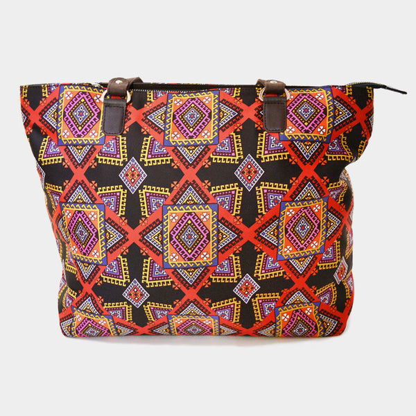 Multicolour Graphic Poly Suede Hand Bag by Noorani Biswas