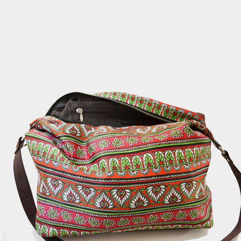 Multicolour Border Poly Suede Jhola Bag by Noorani Biswas
