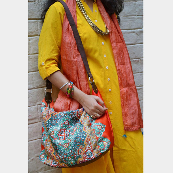 Multicolour Rug Poly Suede Jhola Bag