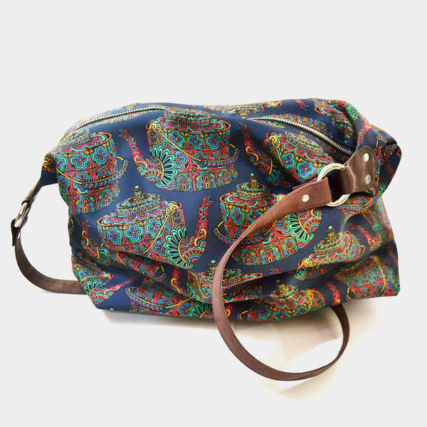 Blue Kettle Poly Suede Jhola Bag