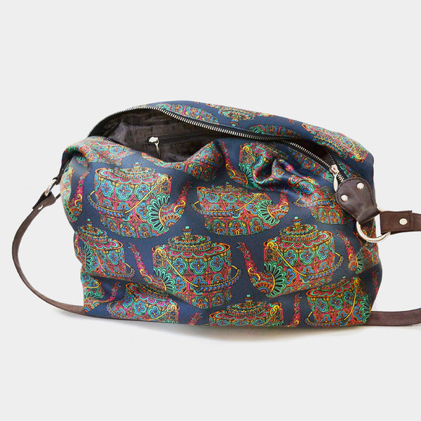 Blue Kettle Poly Suede Jhola Bag by Noorani Biswas