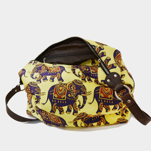 Yellow Elephant Poly Suede Jhola Bag