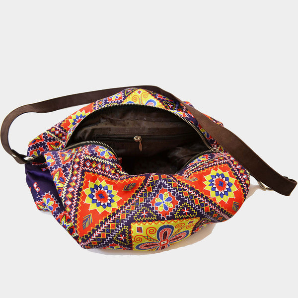 Multicolour Kutch Poly Suede Jhola Bag