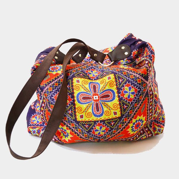 Multicolour Kutch Poly Suede Jhola Bag by Noorani Biswas