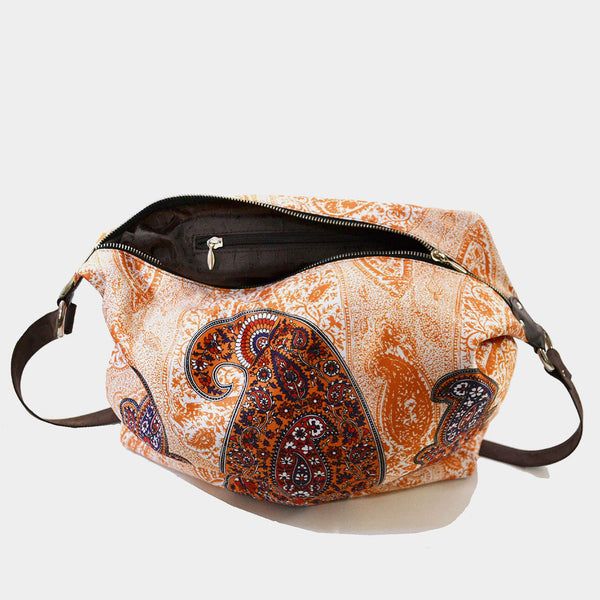 Cream Paisley Poly Suede Jhola Bag