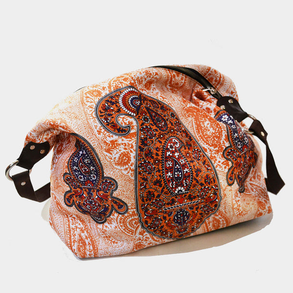 Cream Paisley Poly Suede Jhola Bag by Noorani Biswas