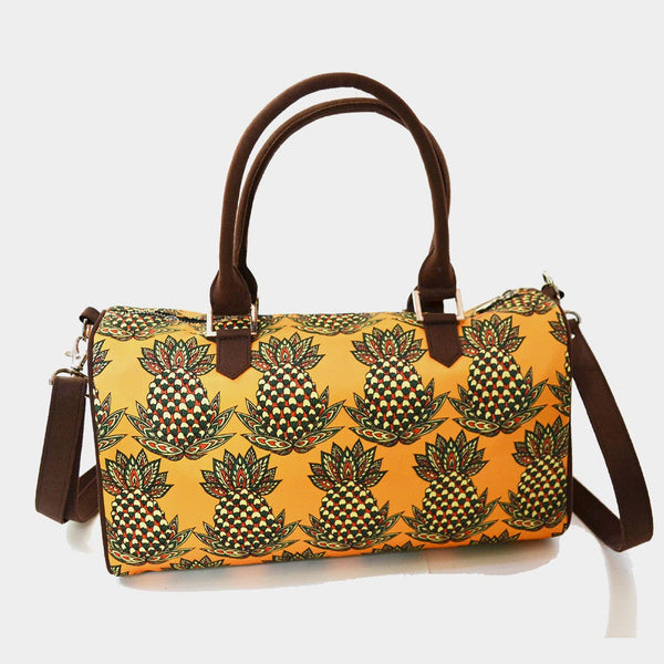 Yellow Pineapple Poly Suede Duffle Bag