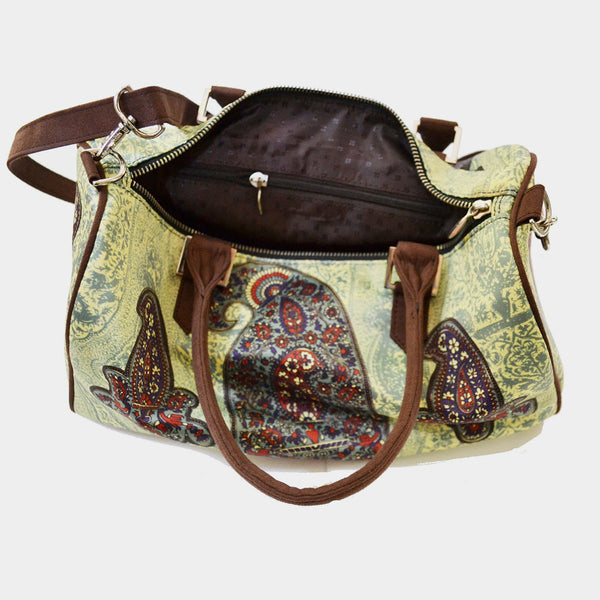 Light Green Paisley Poly Suede Duffle Bag