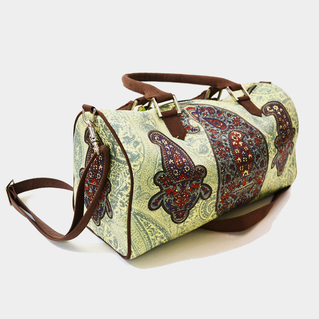 Light Green Paisley Poly Suede Duffle Bag by Noorani Biswas