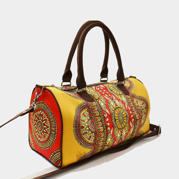 Yellow Rug Poly Suede Duffle Bag