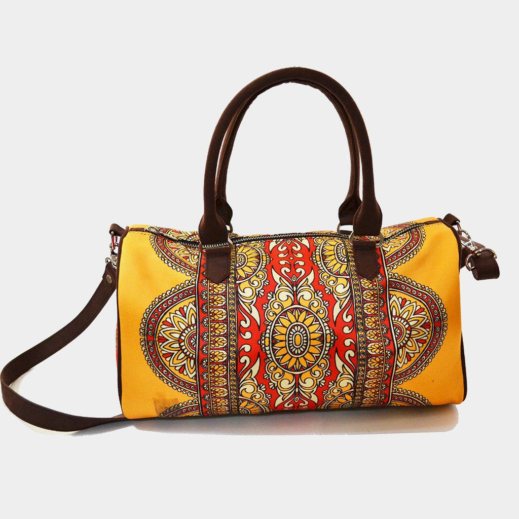 Yellow Rug Poly Suede Duffle Bag by Noorani Biswas