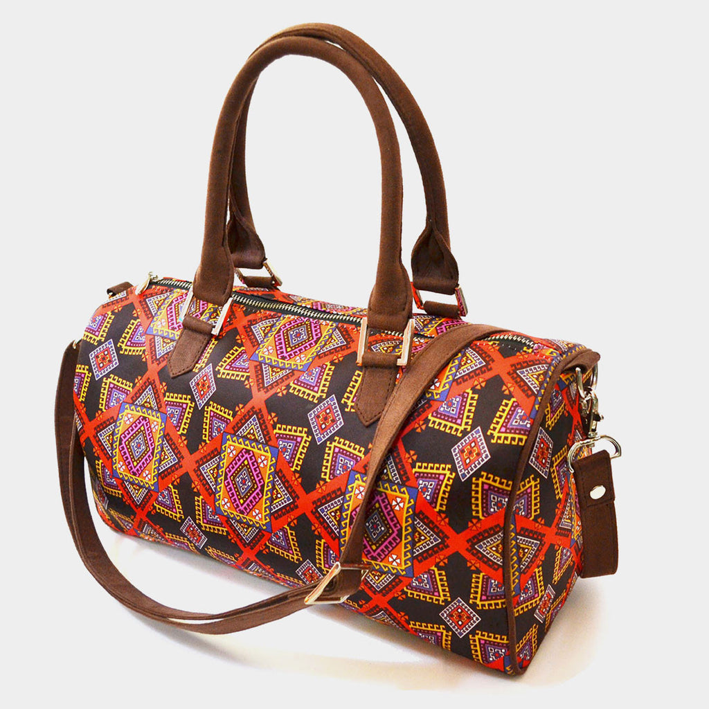 Multicolour Graphic Design Poly Suede Duffle Bag by Noorani Biswas