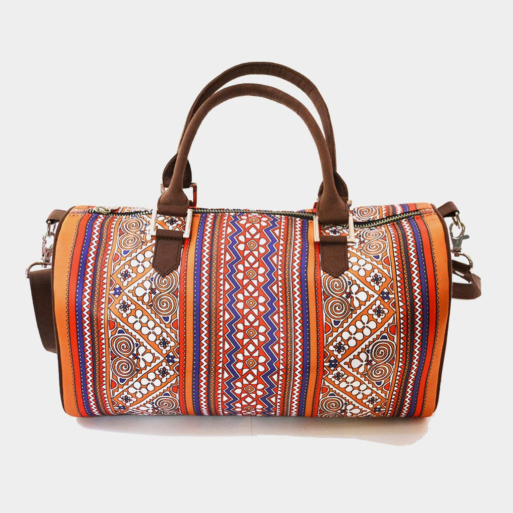 Multicolour Border Poly Suede Duffle Bag by Noorani Biswas