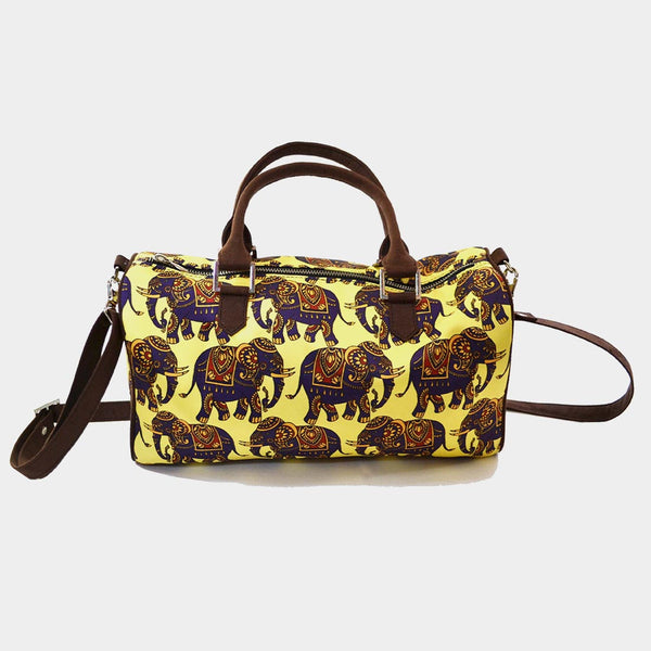 Yellow Elephant Poly Suede Duffle Bag