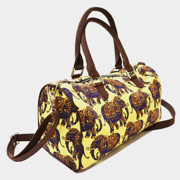Yellow Elephant Poly Suede Duffle Bag by Noorani Biswas