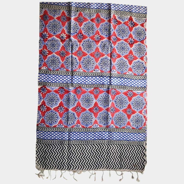 Red Hand Block Print Silk Stole