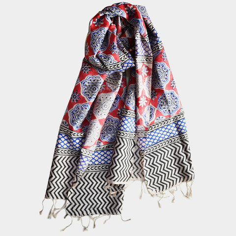 Red Hand Block Print Silk Stole by Noorani Biswas