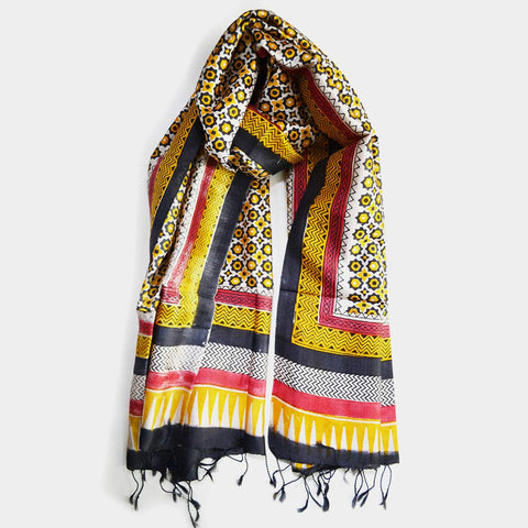 Yellow & Black Hand Block Print Silk Stole by Noorani Biswas