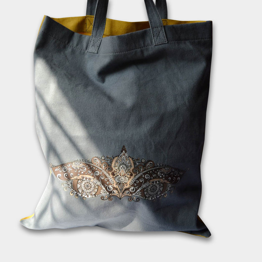 Grey Canvas Eye Tote by Noorani Biswas