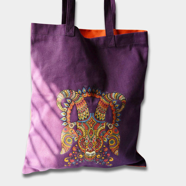 Aries Tote Purple by Noorani Biswas