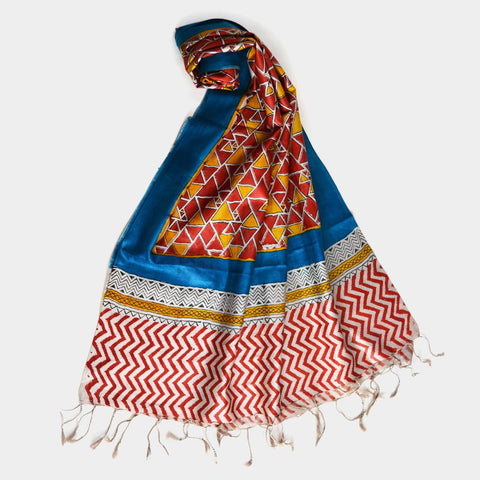Red And Yellow Triangular Printed Silk Stole by Noorani Biswas