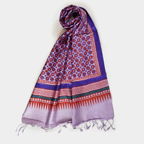 Purple Printed Silk Stole by Noorani Biswas