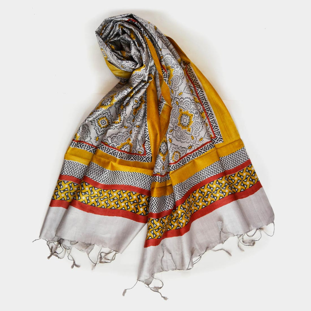 Grey And Yellow Printed Silk Stole by Noorani Biswas