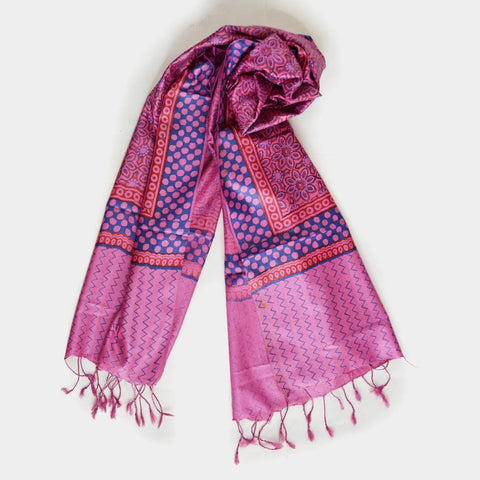 Pink And Blue Printed Silk Stole by Noorani Biswas