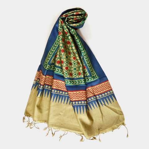 Blue And Green Printed Silk Dupatta by Noorani Biswas