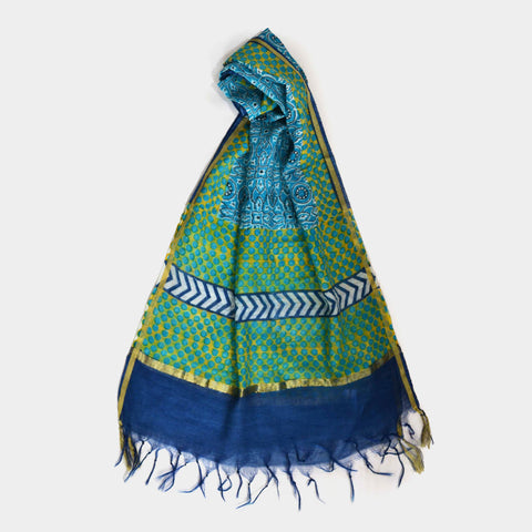 Yellow And Blue Dotted Chanderi Stole by Noorani Biswas