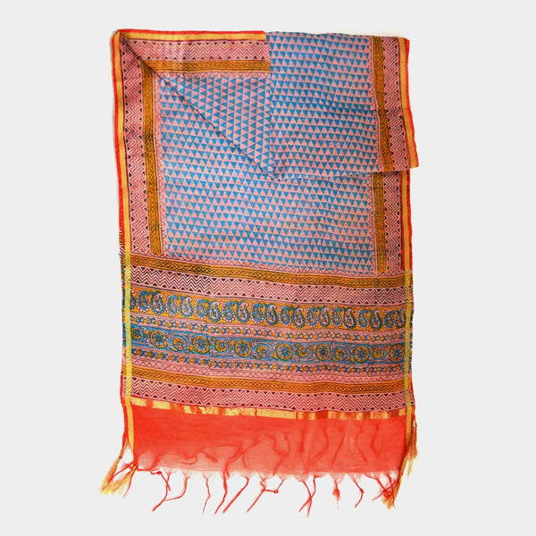 Orange Triangle Pattern Printed Chanderi Stole