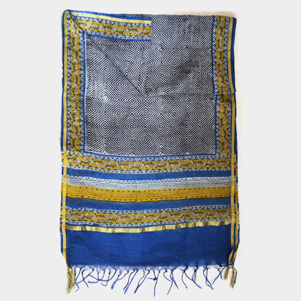 Blue And Black Geometric Pattern Printed Chanderi Stole