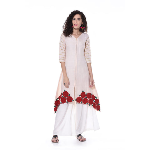 Beige Linen Asymmetric Embroidered Kurta by Paar