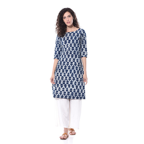 Blue Printed Kurta by Paar